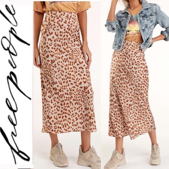 5249ef6950 Free People Skirts | Brown Leopard Satin Midi Skirt | Poshmark